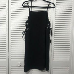 ASOS Side Lace Up Black Midi Dress Size 6